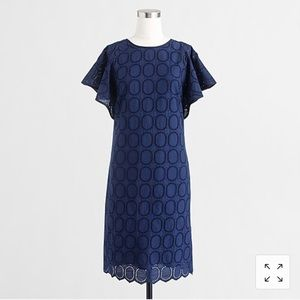 J CREW Flutter-sleeve scalloped eyelet dress Sz 4
